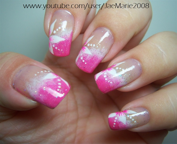 Tremendous Pink And Flower Birthday Nail Art