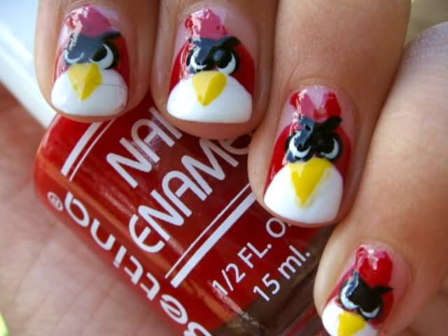 Tremendous White And Red Color Paint Angry Bird Nail Art Design