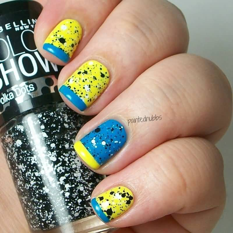 Tremendous Yellow And Blue Nails With Mixed Color Tip