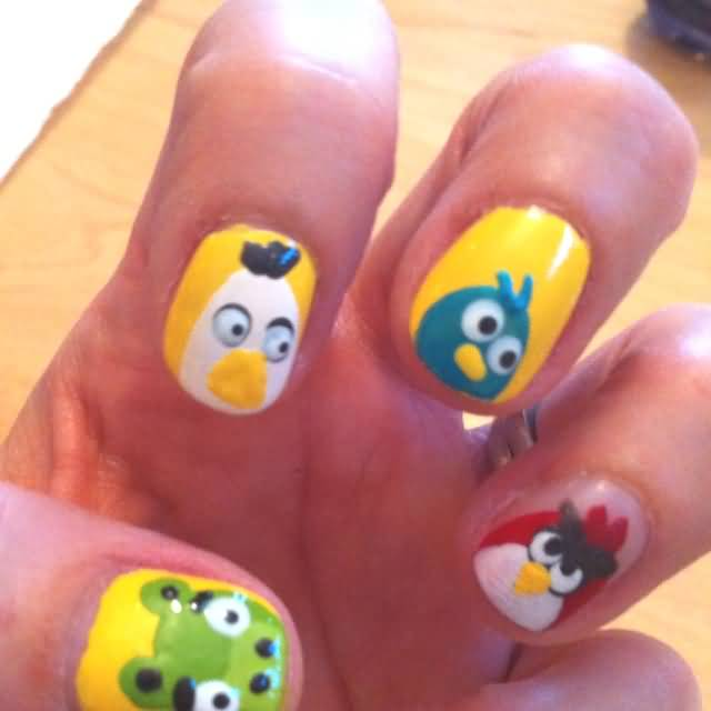 Tremendous Yellow Color Angry Bird Nail Art Design