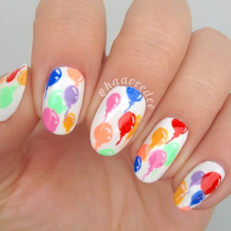 Trending Balloons With White Color Nail paint Birthday Nail Art