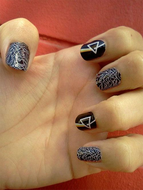 Trending Black And White color Design Acrylic Short Nail Design