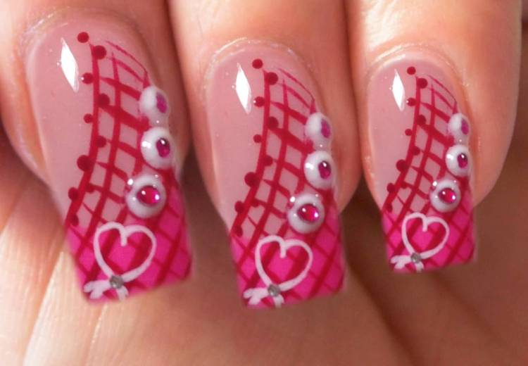 Trending Pink Nail With White heart Design In Pink Acrylic Nail Design