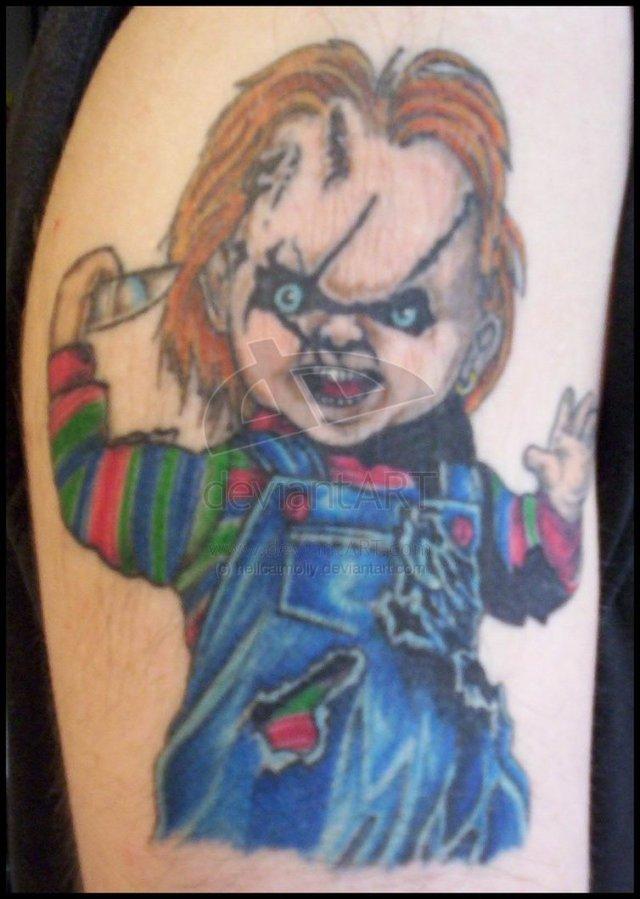 Trendy Chuckie Horror Tattoo Design For Girls