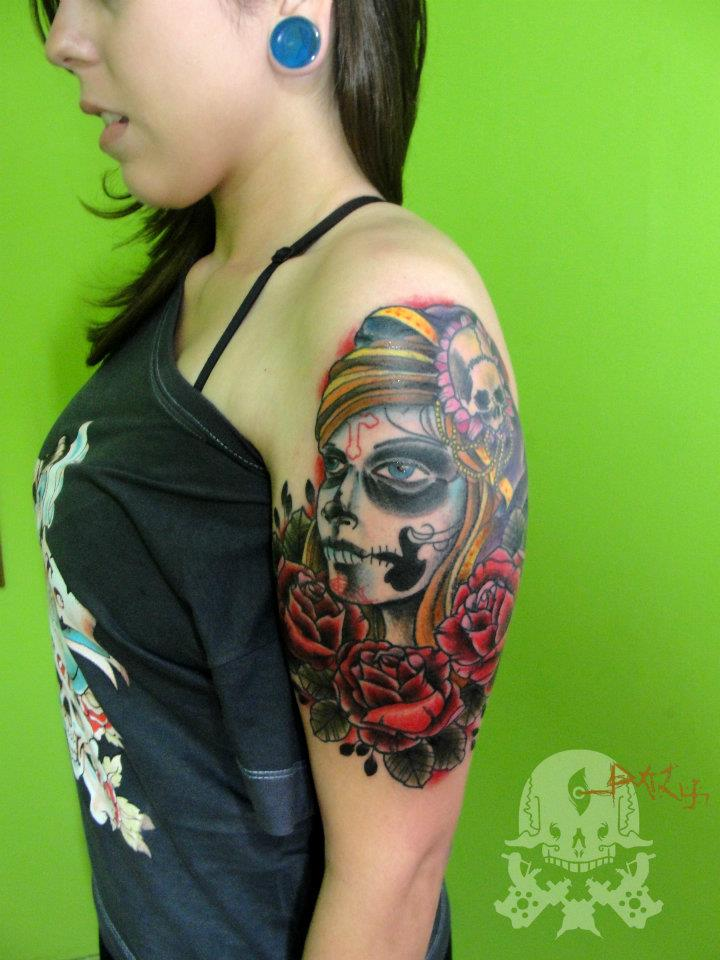Trendy Dia De Los Muertos Tattoo On Shoulder For Women