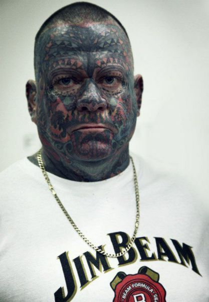 Trendy Extreme Horrible Face Tattoo Design For Boys