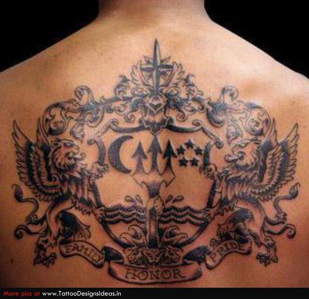 Trendy Family Crest Tattoo On Back For Boys