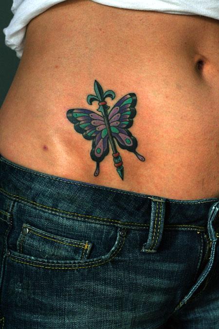 Trendy Fleur De Lis Butterfly Tattoo On Hip For Girls
