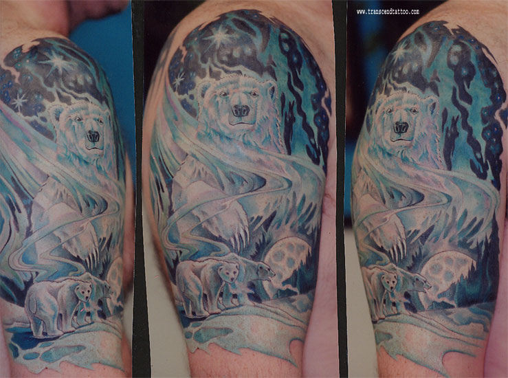 Trendy Half Sleeve Polar Bear Tattoo Design For Girls