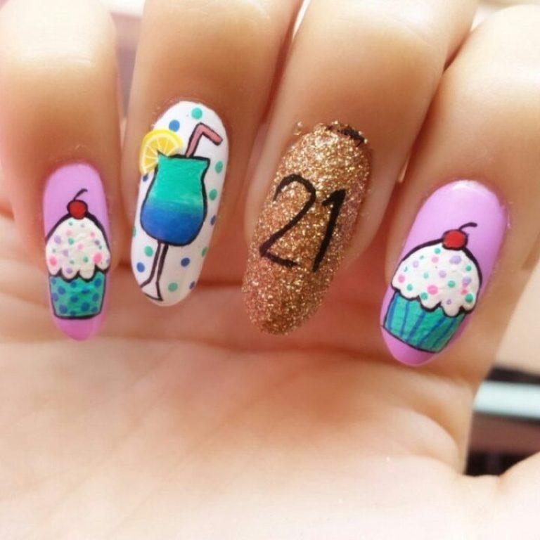 Trendy Ice Cream Shake Birthday Nails
