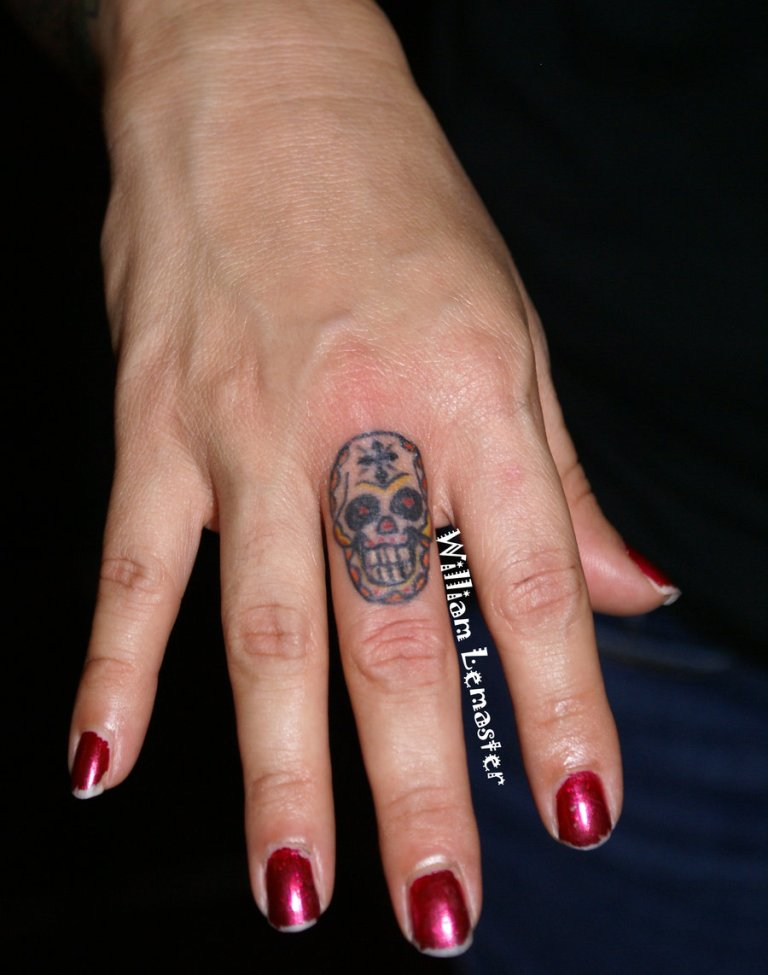 Trendy Mini Sugar Skull Tattoo On Finger For Girls
