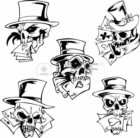 Trendy Skulls With Playing Cards Tattoo Design For Girls