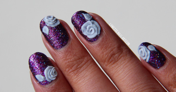 Ultimate Blue Color 3D Rose Flower Nail Art