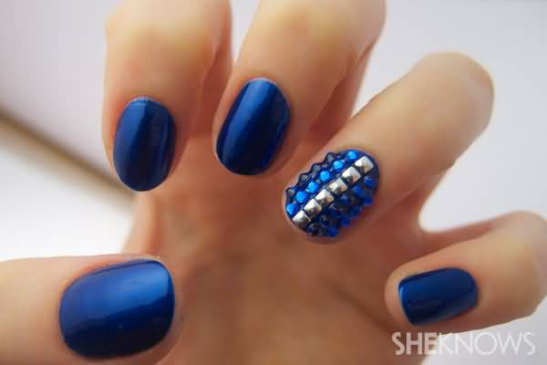 Ultimate Blue Color Nail Paint With Diamond Accent Nail Art