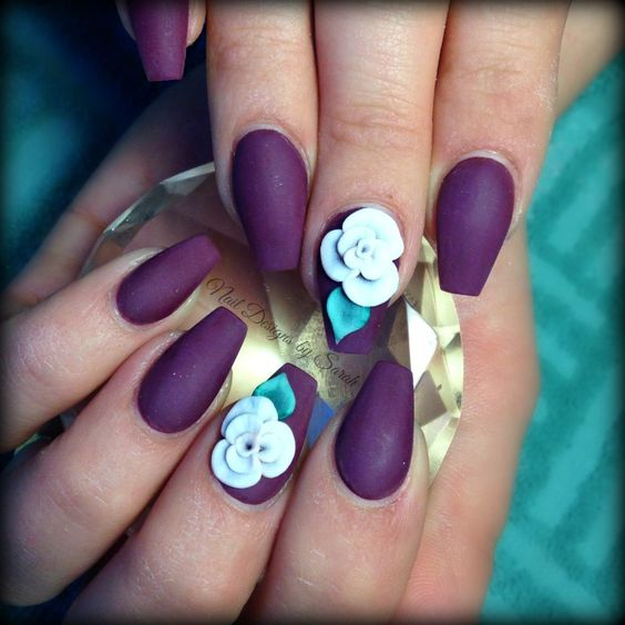Ultimate Blue Violet Color Nail Paint With Light Blue Flower 3D Rose Flower Nail Art