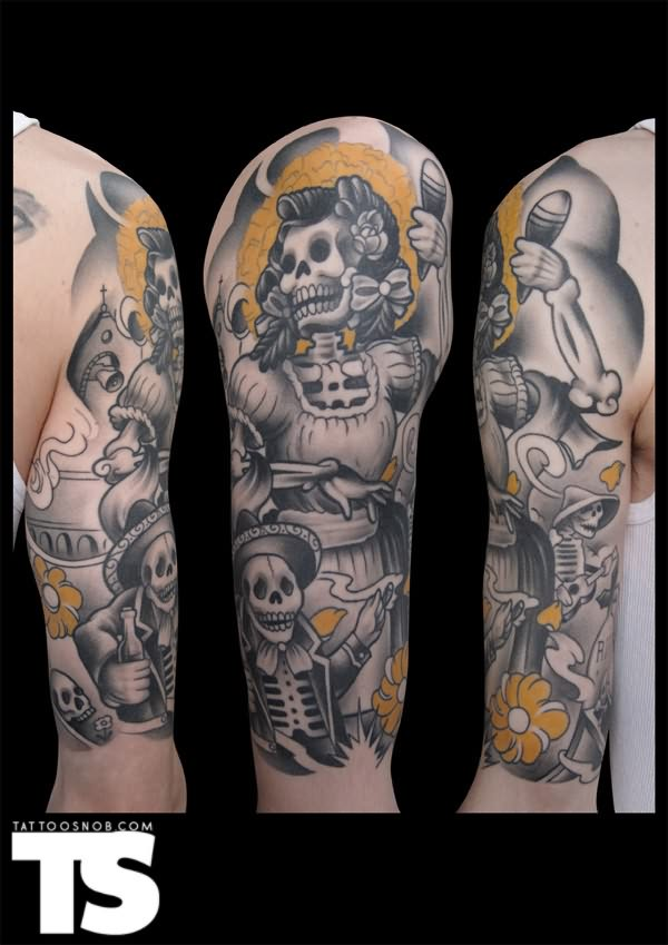 Ultimate Dia De Los Muertos Tattoo Designs On Sleeve For Girls