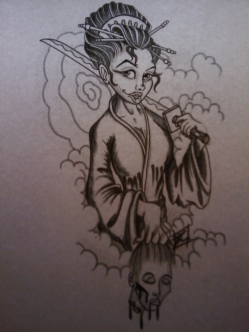 Ultimate Geisha Pin Up Tattoo Design For Girls