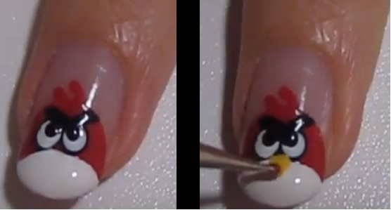 Ultimate Glossy Angry Bird Nail Art Design