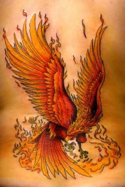 Ultimate Phoenix Fire n Flames Tattoo On Back For Girls