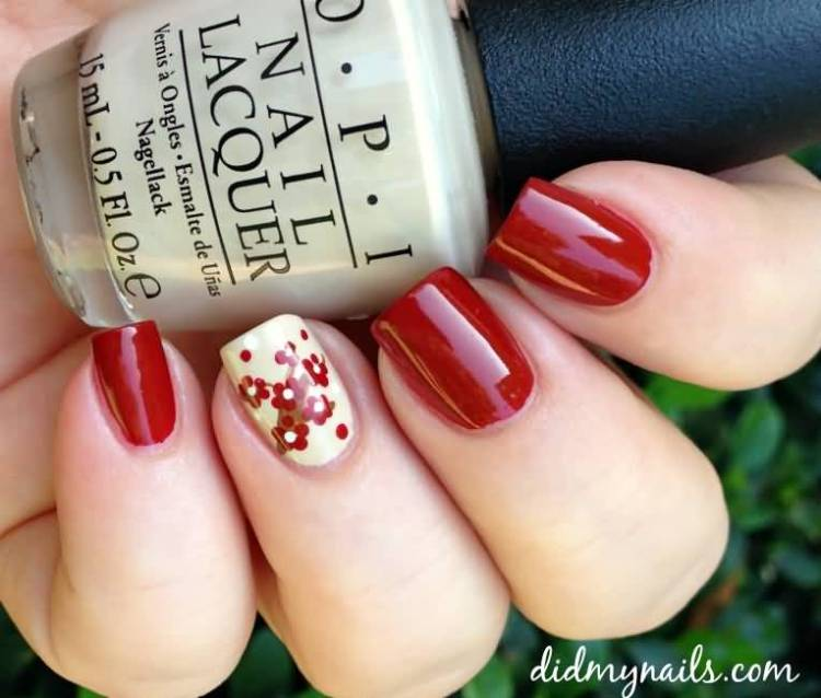 Ultimate Red And White Ink Accent Nail Art