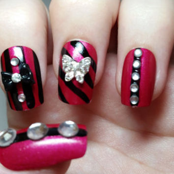 Ultimate Red Color And Diamond 3D Butterflies Nail Art