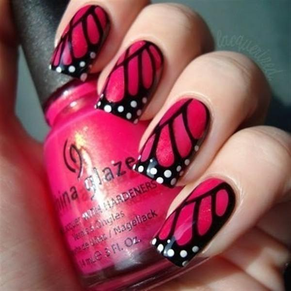 Unique Black And Pink Nails With Feathers Of A Butterfly
