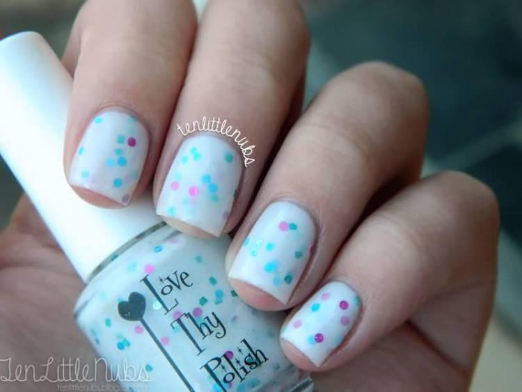 Unique Blue Nail With Colorful Dot Design