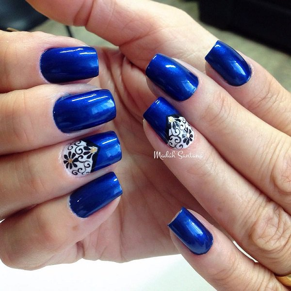 Unique Blue Nails With White Nail And Dark Color Design