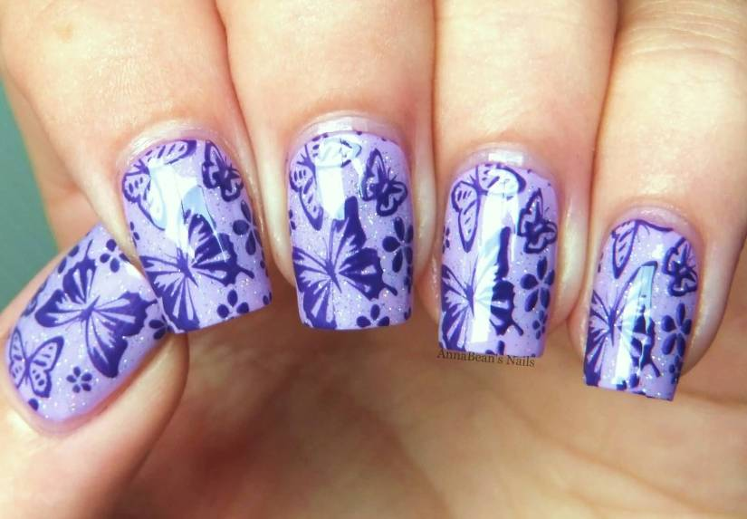 Unique Butterfly Nail With Sparkling Ink