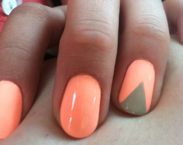 Unique Orange Color Paint Accent Nail Design