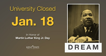 University Closed Jan. 18 Martin Luther King Jr Day