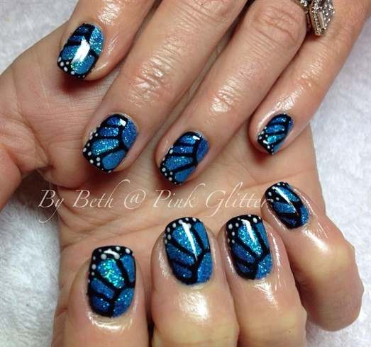 Wonderful Butterfly Nail With Sparkling Feather
