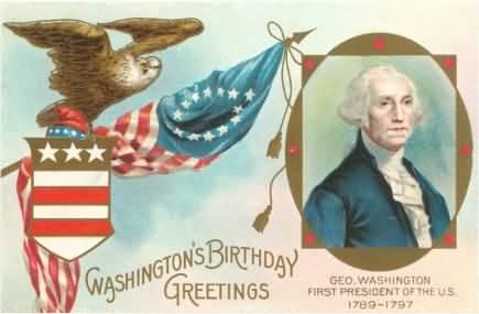 Washington Birthday Greetings Card Image