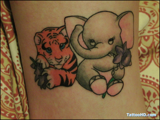 Weird Elephant n Tiger Tattoo Design For Girls