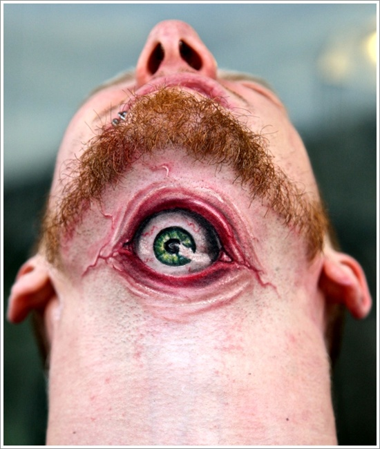 Weird Eye Tattoo On Throat For Boys