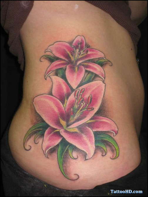 Weird Feminine Flowers Tattoo On Hip For Girls