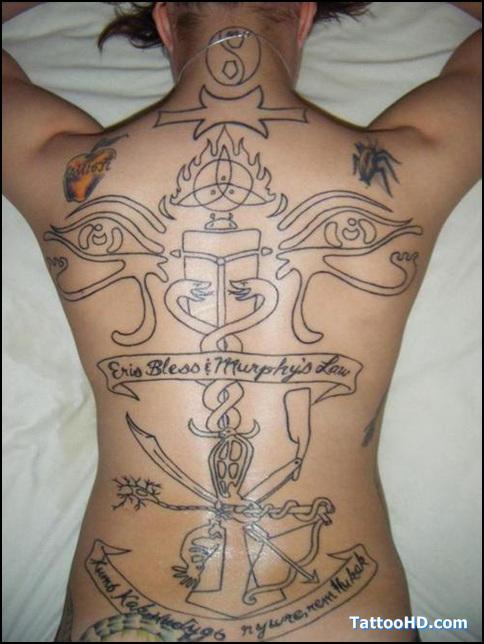 Weird Full Back Egyptian Tattoo Designs For Boys