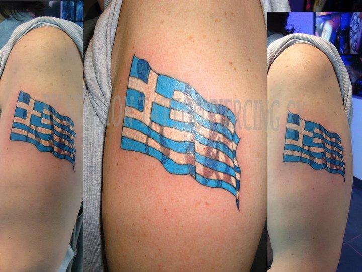 Weird Greek Flag Tattoo On Biceps For Boys