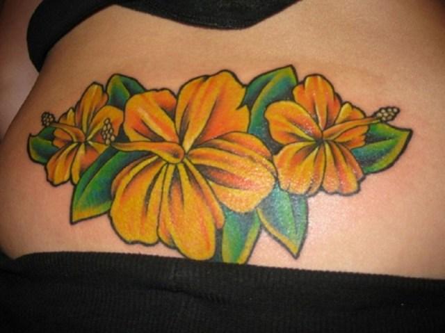 Weird Hibiscus Hip Tattoo Design For Girls