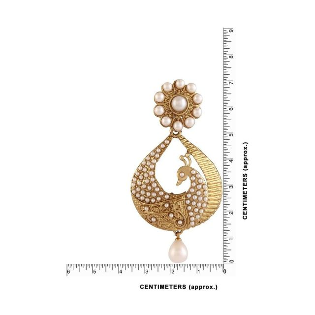 White Gold Plated Peacock Shaped Pearl Dangle & Drop Earring 02