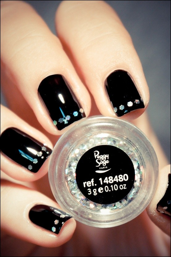 Wonderful Black Nail Art Design With Dotes
