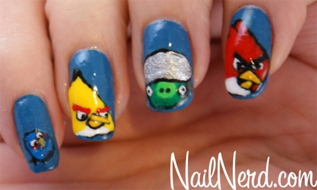 Wonderful Blue Color Different Design Angry Bird Nail Art Design
