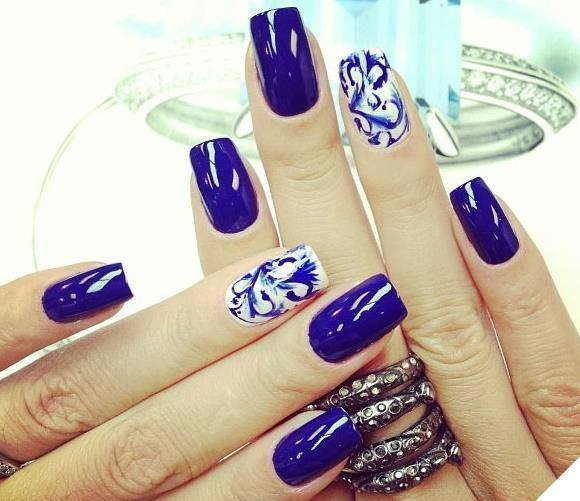 Wonderful Blue Nail With Different Design