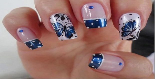 Wonderful Butterfly Nail With Black doted Tips