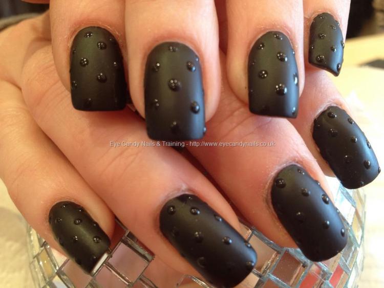 Wonderful Dotted Type Black Acrylic Nail Art