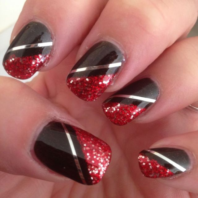 Wonderful Red And Black Nails With Silver Lining Design