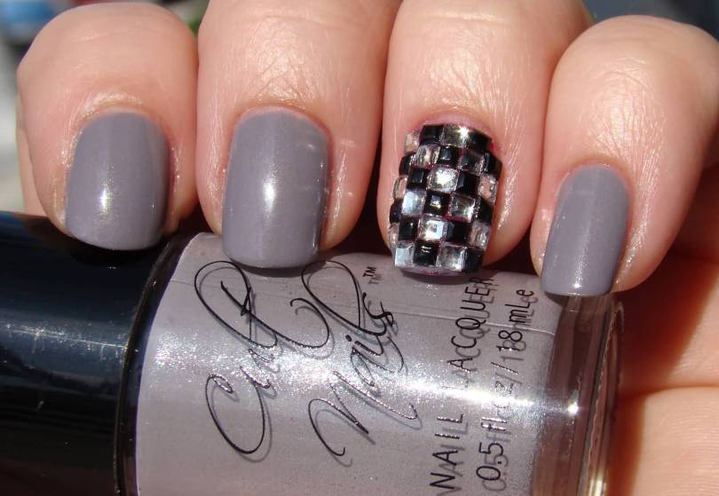 Wonderful Silver Color Nail Paint With Stones Accent Nail Art