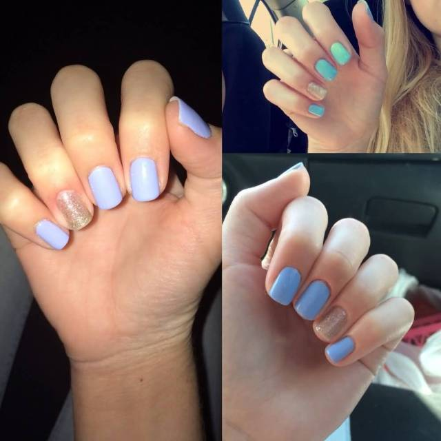 Wonderful Sky Blue color With Cute Hand Glitter Accent Nail Art
