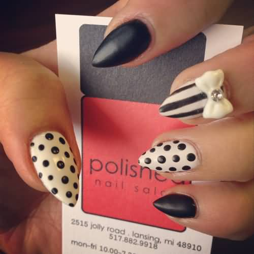 Wonderful Stiletto Nails With 3D Bow And Polka Dot