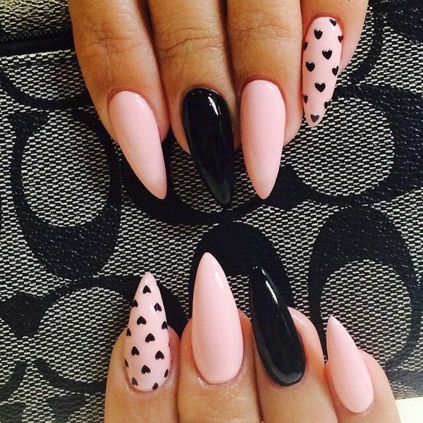 Wonderful Stiletto Nails With Pink And Black Nails
